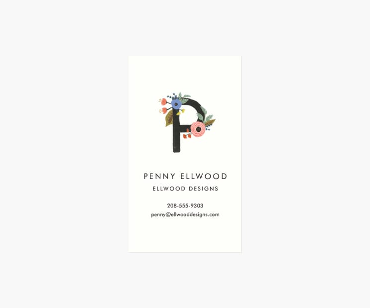 Monogram Personalized Business Cards- Floral Initial
