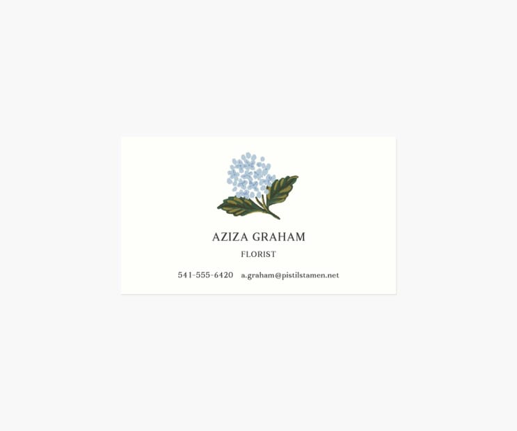Personalized Business Cards- Hydrangea