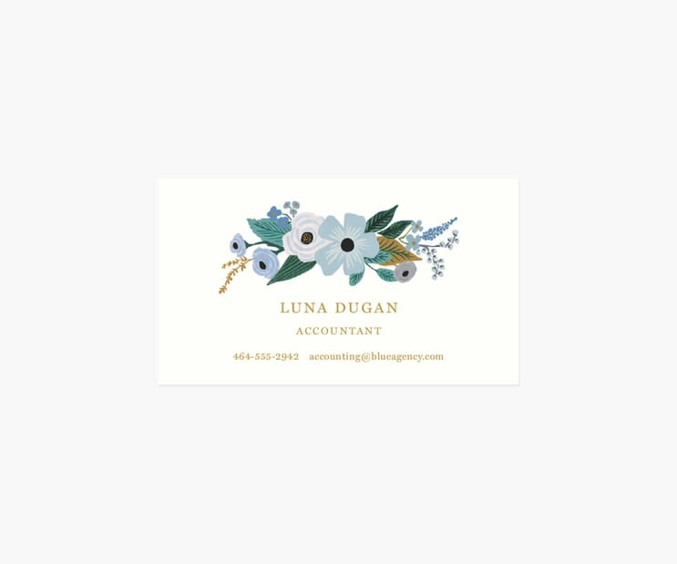 Personalized Business Cards- Garden Party Blue