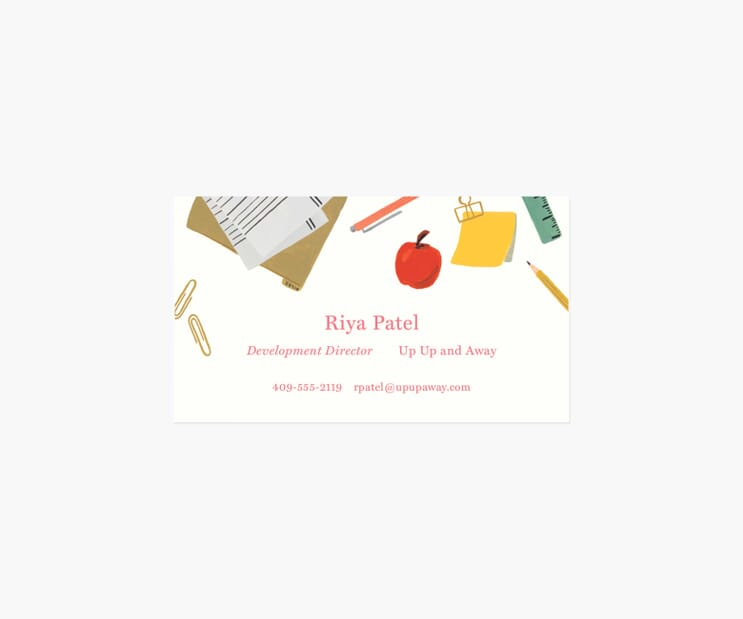 Personalized Business Cards- School Desk
