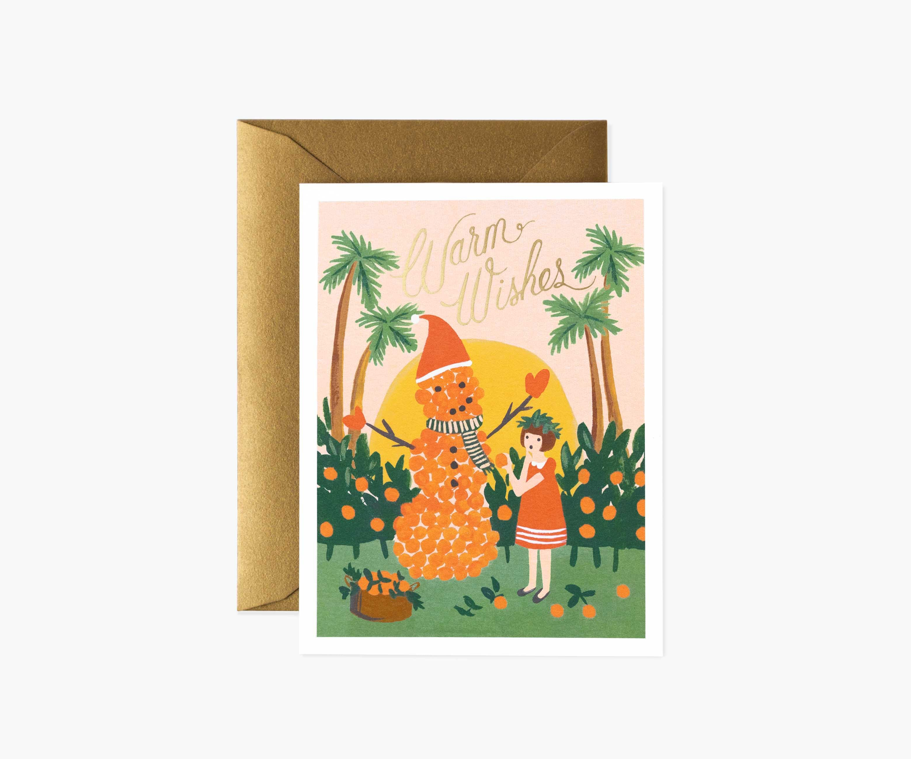 warm wishes snowman christmas card  rifle paper co