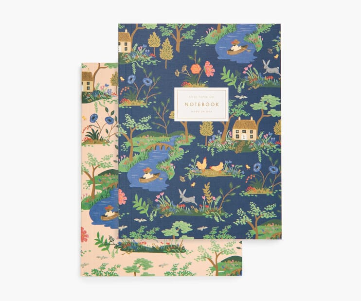 Garden Toile Blank Notebook Set