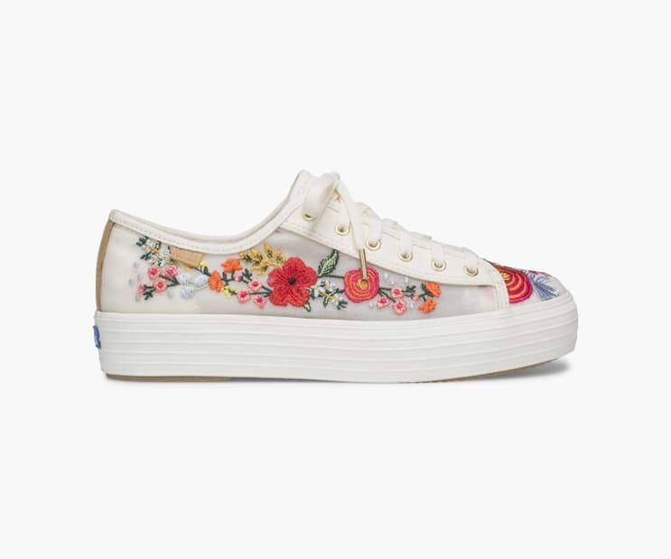 Wild Rose Embroidered Mesh Triple Kick Sneaker