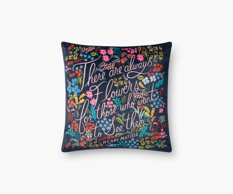 Always Flowers Velvet Pillow-Navy