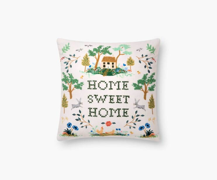 Home Embroidered Pillow-Ivory
