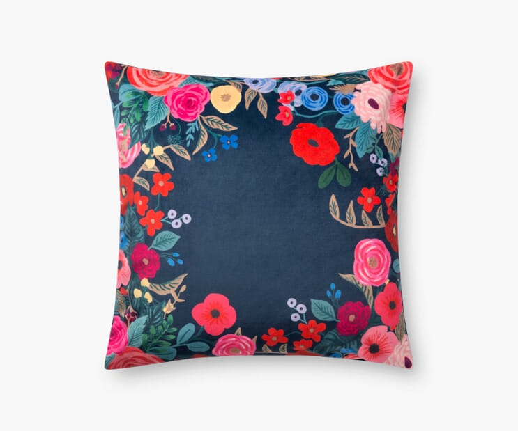 Juliet Wreath Velvet Pillow-Navy