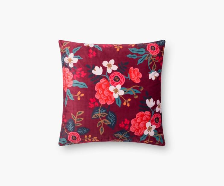 Birch Floral Velvet Pillow-Burgundy