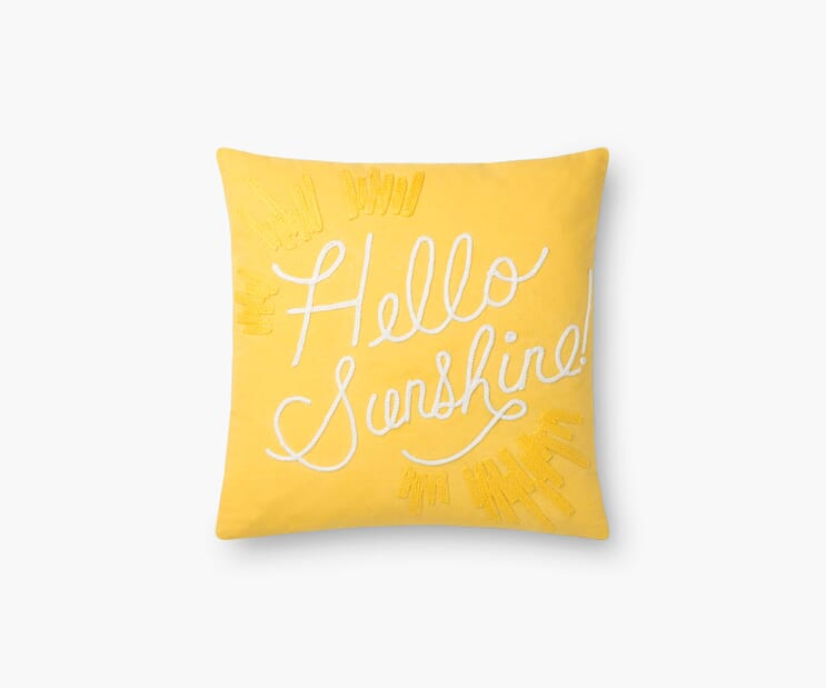 Hello Sunshine Embroidered Pillow-Yellow