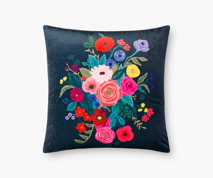 Juliet Rose Velvet Pillow- Midnight