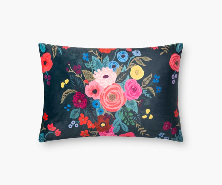 Juliet Bouquet Velvet Pillow-Navy