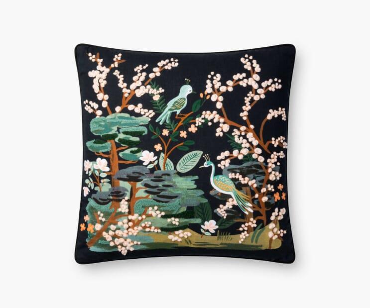 Kyoto Garden Embroidered Pillow-Black
