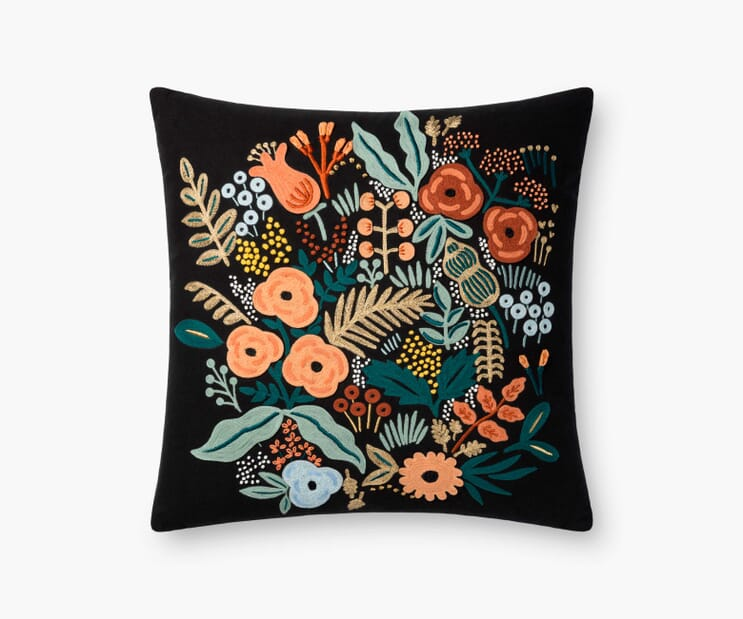 Lourdes Embroidered Pillow-Black