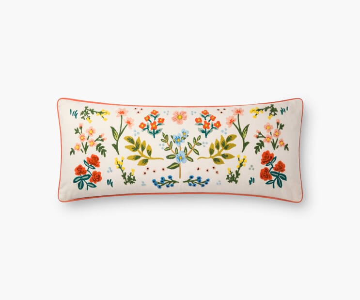 Wildwood Embroidered Pillow-Cream