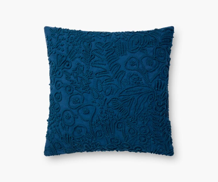 Tapestry Embroidered Pillow-Indigo