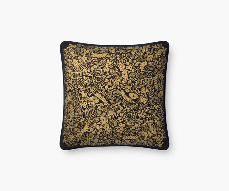 Gold Tapestry Pillow-Black