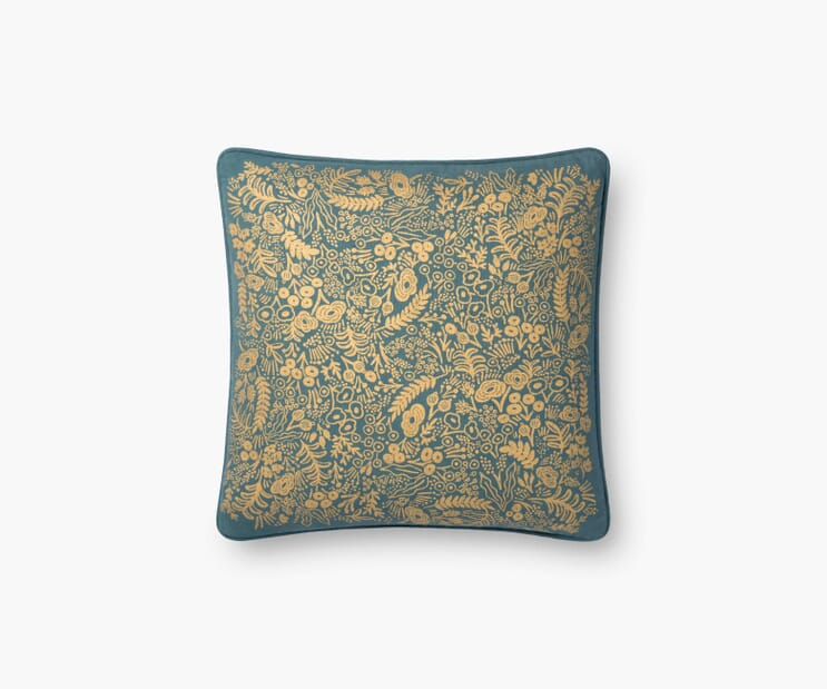Gold Tapestry Pillow-Emerald
