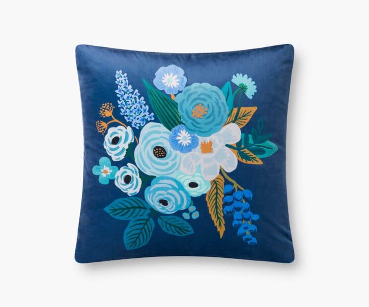 Garden Party Velvet Pillow-Blue