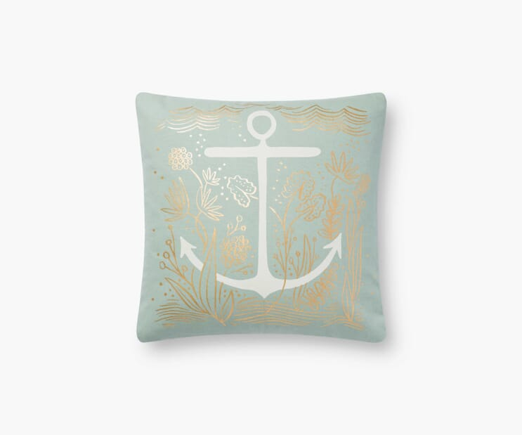 Anchor Printed Pillow-Mint
