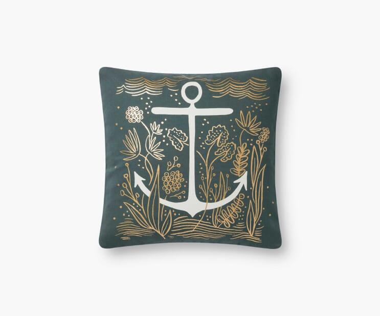Anchor Printed Pillow-Navy
