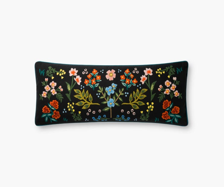 Wildwood Embroidered Pillow-Black