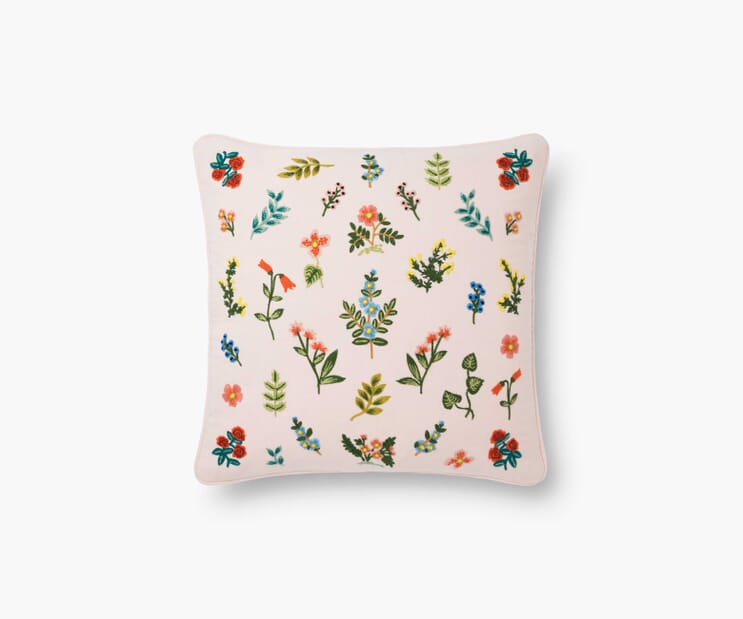 Wildwood Embroidered Pillow-Blush