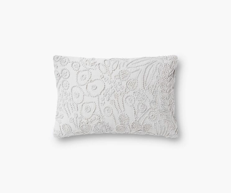 Tapestry Embroidered Lumbar Pillow-Grey