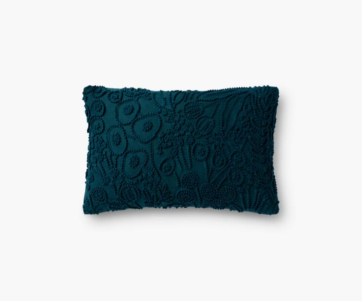 Tapestry Embroidered Lumbar Pillow-Navy