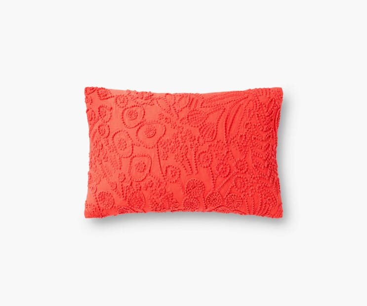Tapestry Embroidered Lumbar Pillow-Red