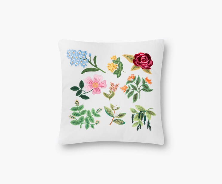 Floral Study Embroidered Pillow-Cream