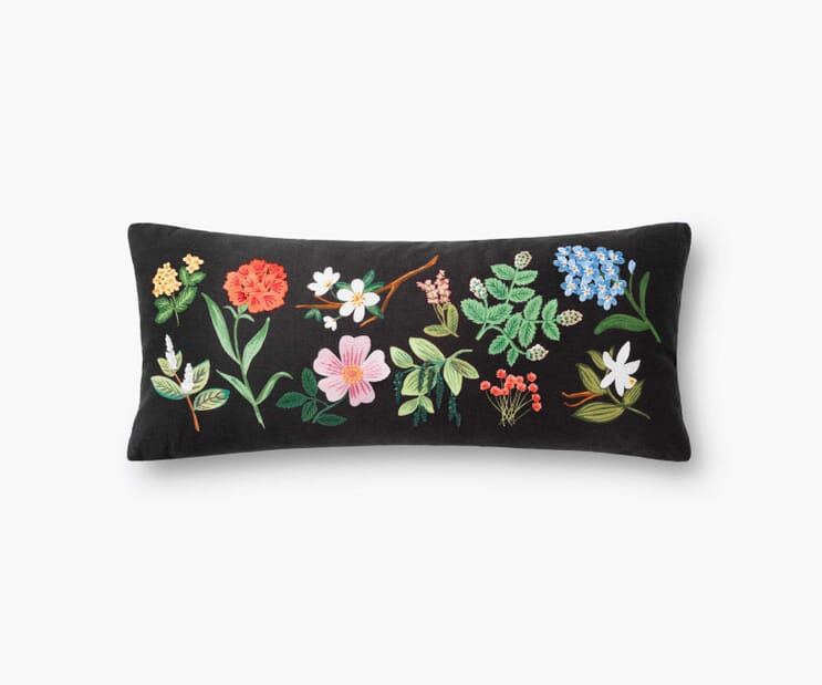 Floral Study Embroidered Pillow-Black