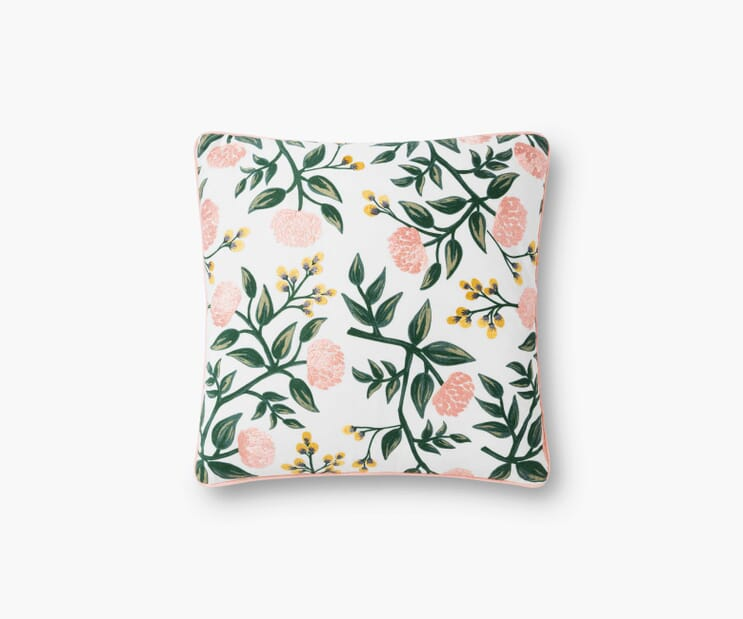 Peonies Embroidered Pillow-Blush