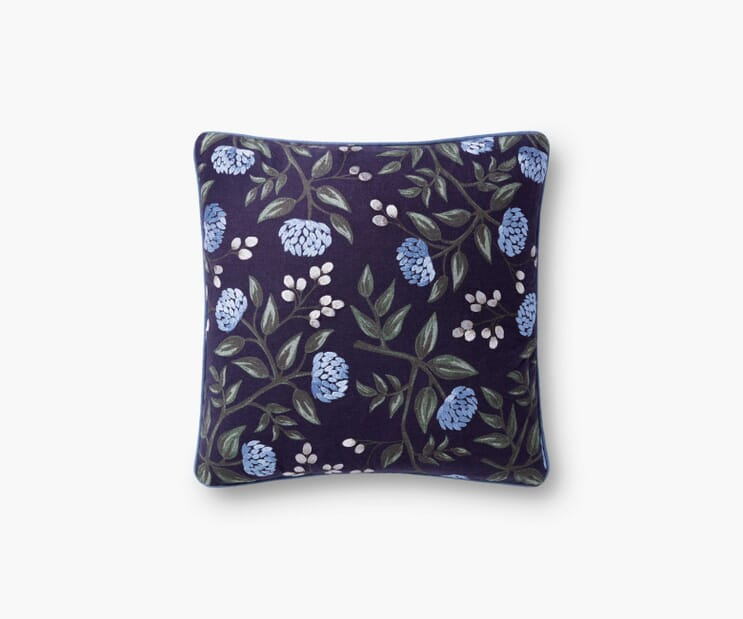 Peonies Embroidered Pillow-Navy