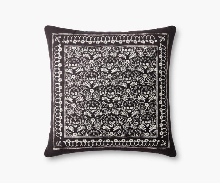 Trellis Embroidered Pillow-Black