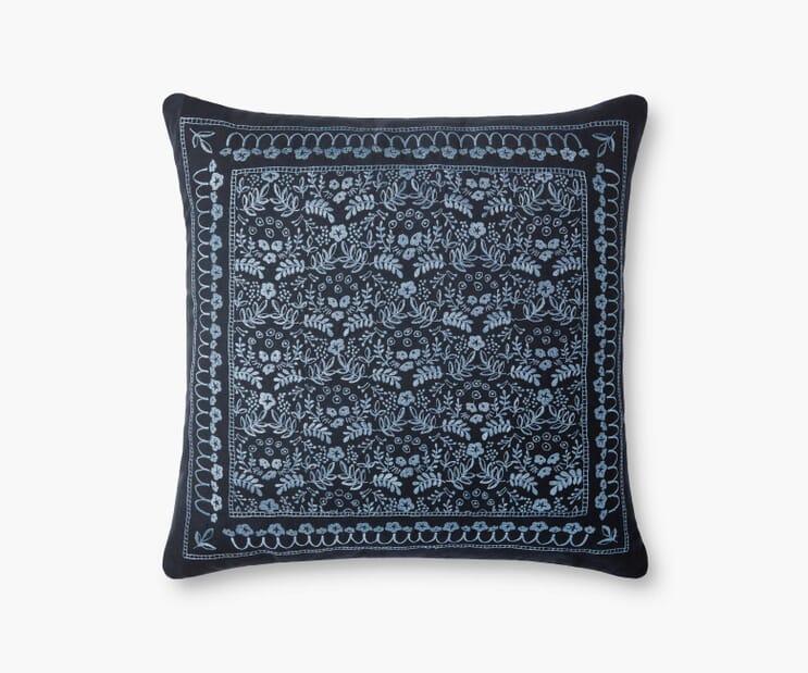 Trellis Embroidered Pillow-Blue