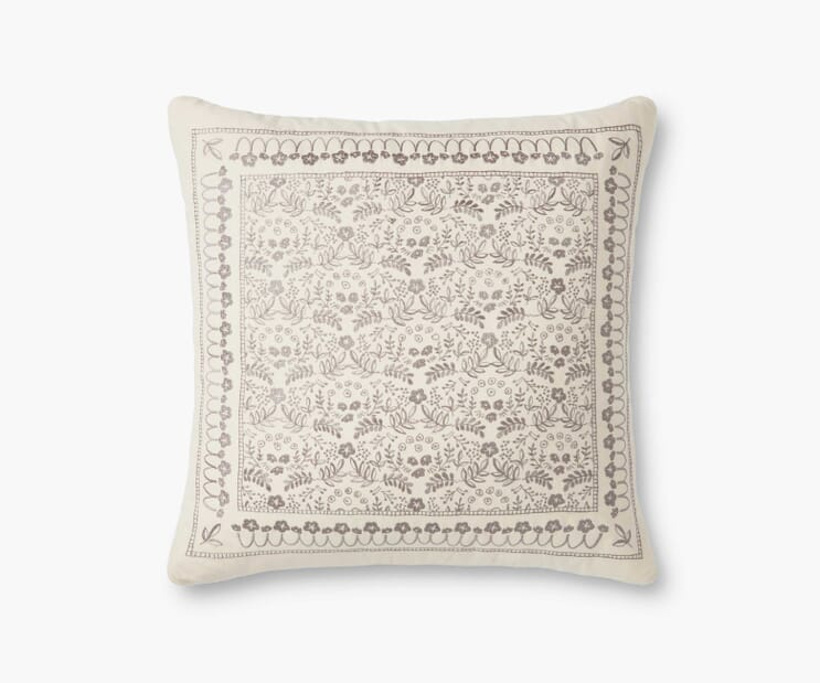 Trellis Embroidered Pillow-Cream