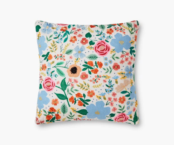 Wild Rose Embroidered Pillow-Cream