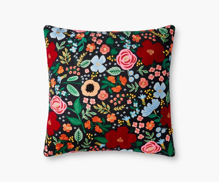Wild Rose Embroidered Pillow-Black