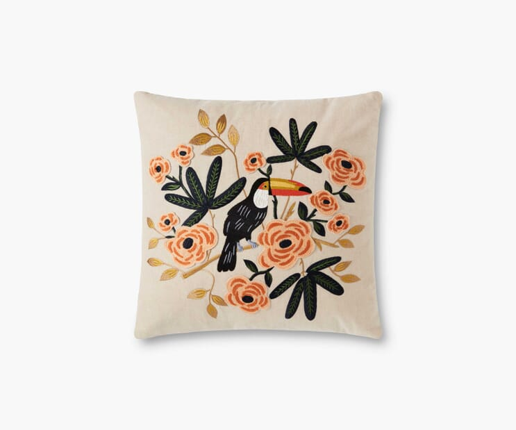 Toucan Embroidered Pillow-Natural