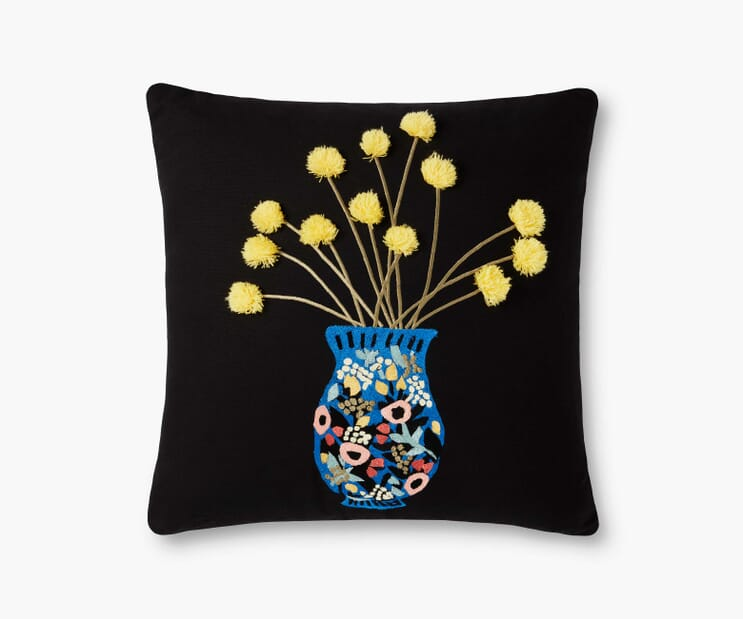 Vase Study No. 2 Embroidered Pillow-Yellow