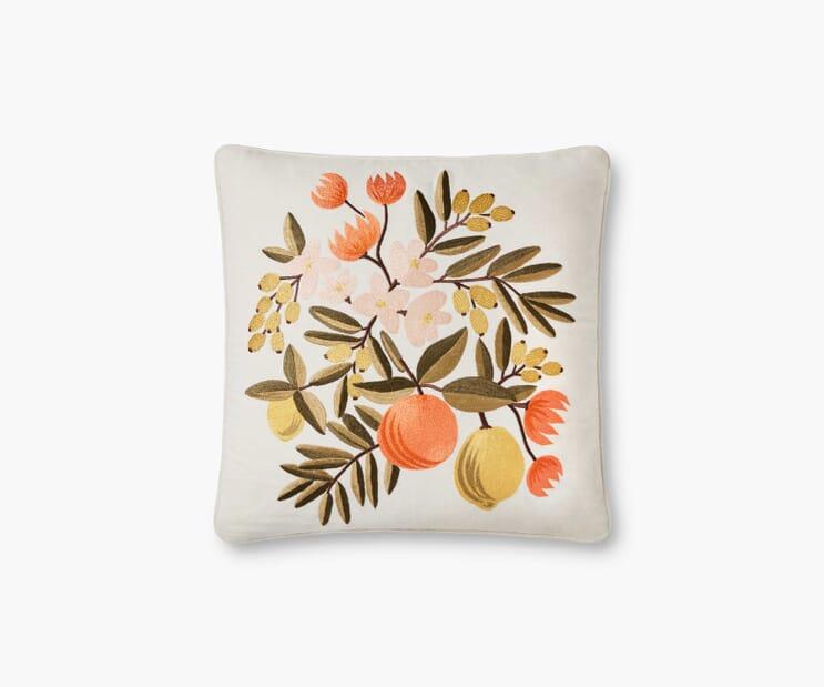 Citrus Floral Embroidered Pillow-Orange