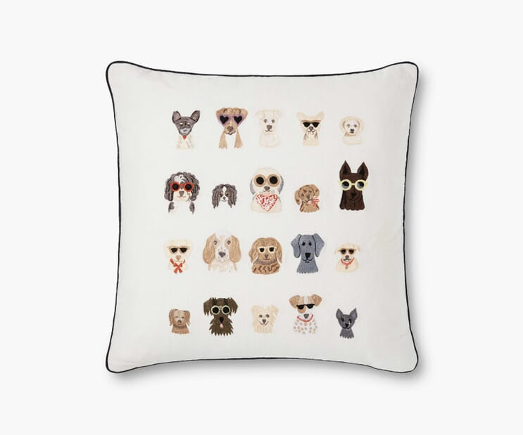 Dog Days Embroidered Pillow-Cream