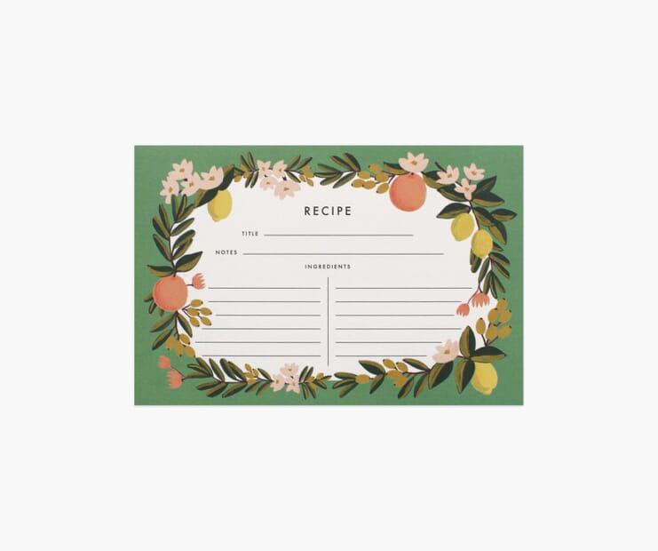 Citrus Floral Recipe Cards