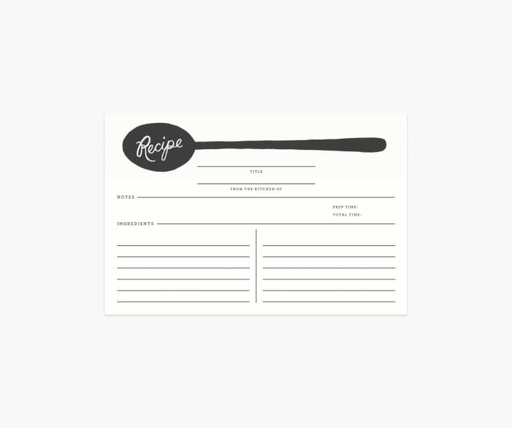 Charcoal Spoon Recipe Cards
