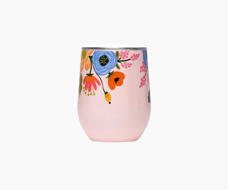 Lively Floral Blush Stemless Wine Cup