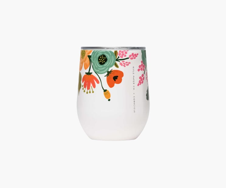 Lively Floral Cream Stemless Wine Cup