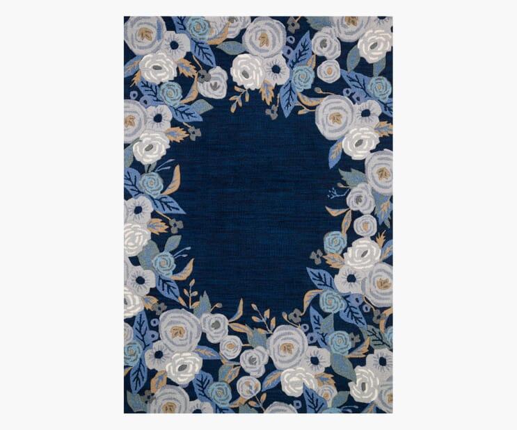 Juliet Rose Wreath Blue Wool-Hooked Rug