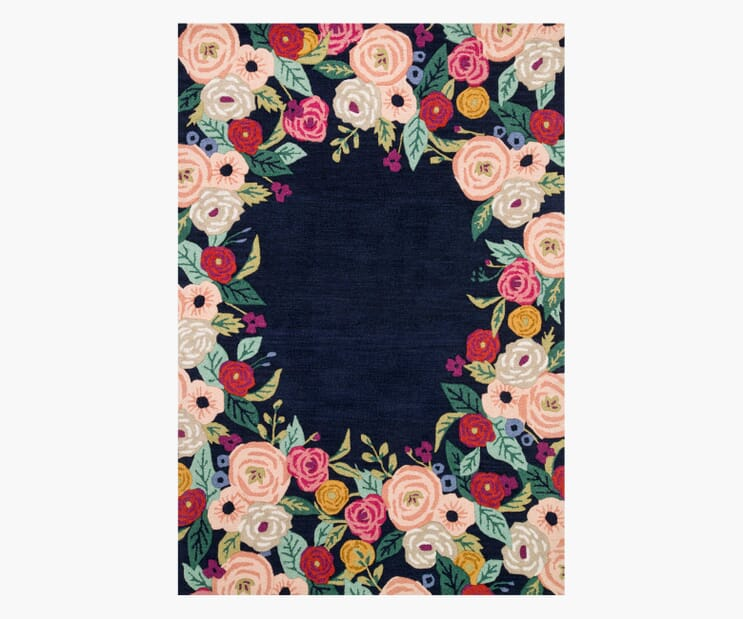 Juliet Rose Wreath Indigo Wool-Hooked Rug