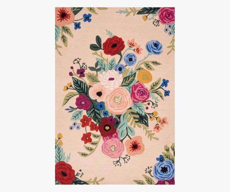 Juliet Rose Bouquet Blush Wool-Hooked Rug