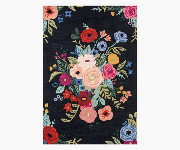 Juliet Rose Bouquet Black Wool-Hooked Rug