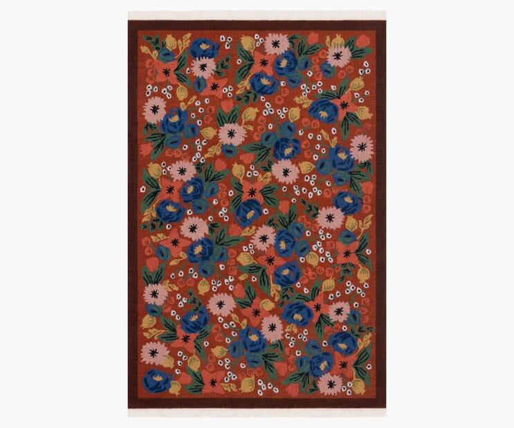 Rosa Crimson Wool-Hooked Rug